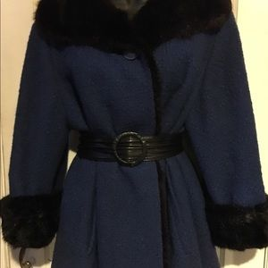 Tailored Woman Jackets & Coats - Tailored Woman Vintage Fur Lined Blue Coat